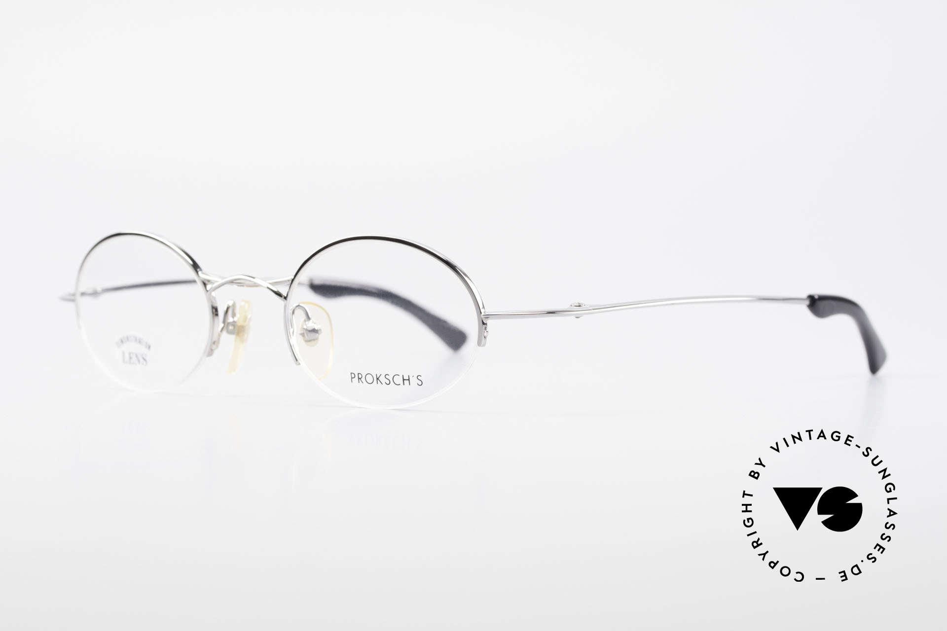 W Proksch's M35/2 Halb Randlos 90er Avantgarde, schlichtes Design & japanisches Qualitäts-Streben!, Passend für Herren