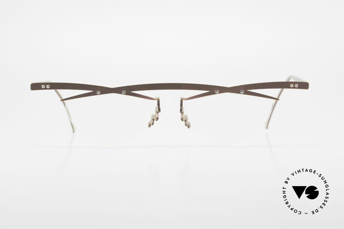 Theo Belgium Tita III 4 Crazy Vintage Brille XL 90er, in 1989 gegründet als 'ANTI MAINSTREAM' Brillenmode, Passend für Herren und Damen