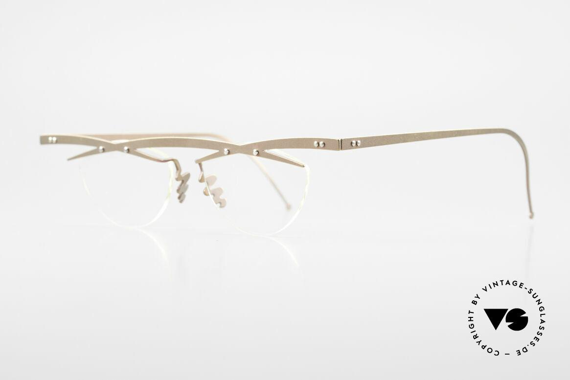 Theo Belgium Tita III 4 Crazy Vintage Brille XL 90er, TITA-Serie = XL Titanium Modelle von THEO der 1990er, Passend für Herren und Damen