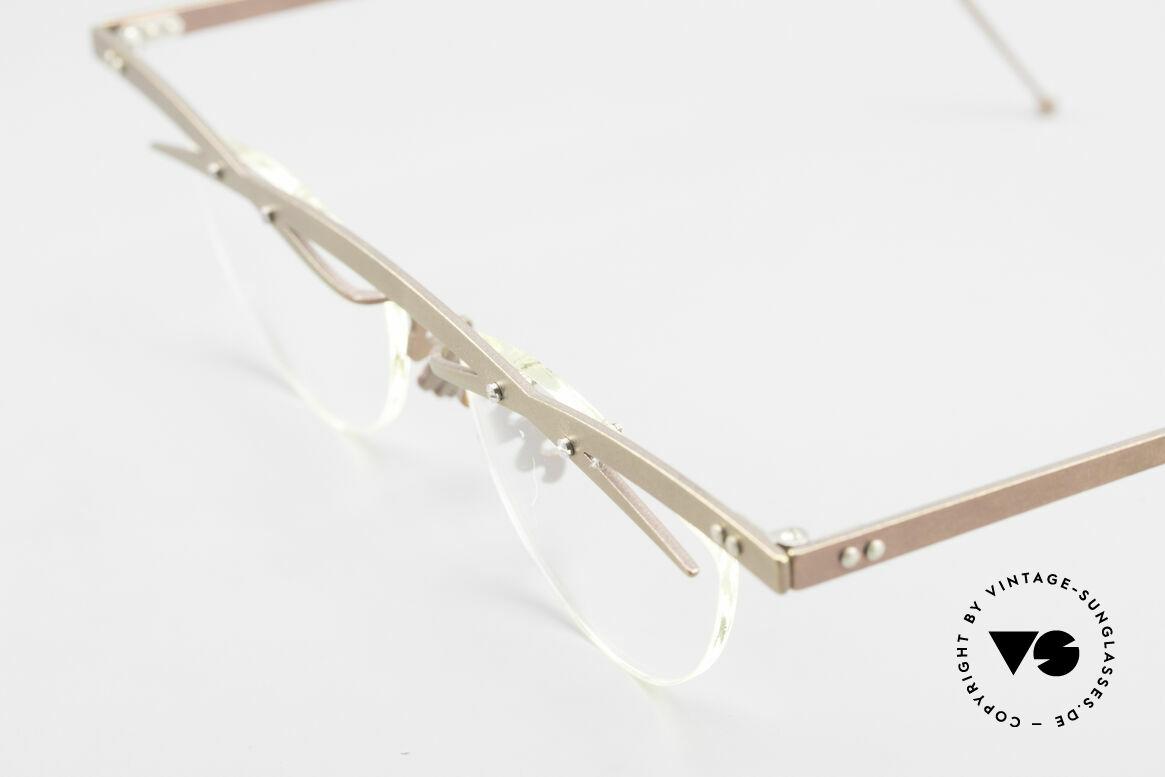 Theo Belgium Tita III 4 Crazy Vintage Brille XL 90er, die Gläser sind mit Schrauben am Titan-Rahmen fixiert, Passend für Herren und Damen