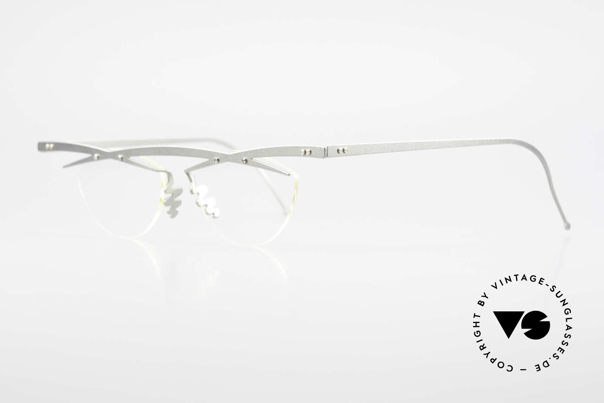 Theo Belgium Tita III 7 Crazy XL Vintage Brille 90er, TITA-Serie = XL Titanium Modelle von THEO der 1990er, Passend für Herren und Damen