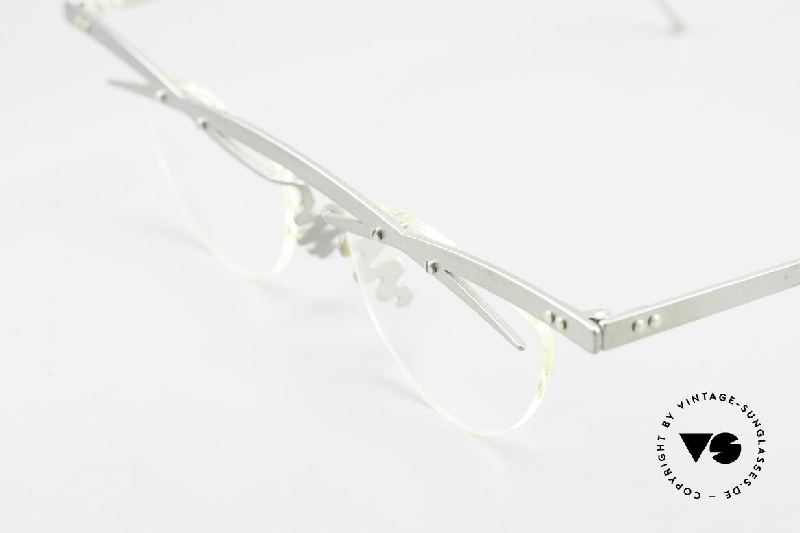 Theo Belgium Tita III 7 Crazy XL Vintage Brille 90er, die Gläser sind mit Schrauben am Titan-Rahmen fixiert, Passend für Herren und Damen