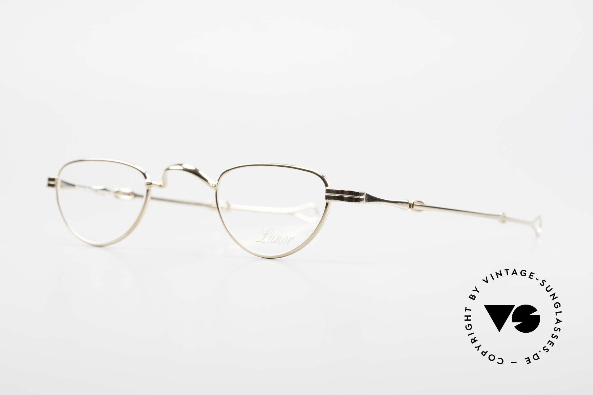 Lunor I 06 Telescopic Ausziehbare Brille Vergoldet, Brillendesign in Anlehnung an frühere Jahrhunderte, Passend für Herren und Damen