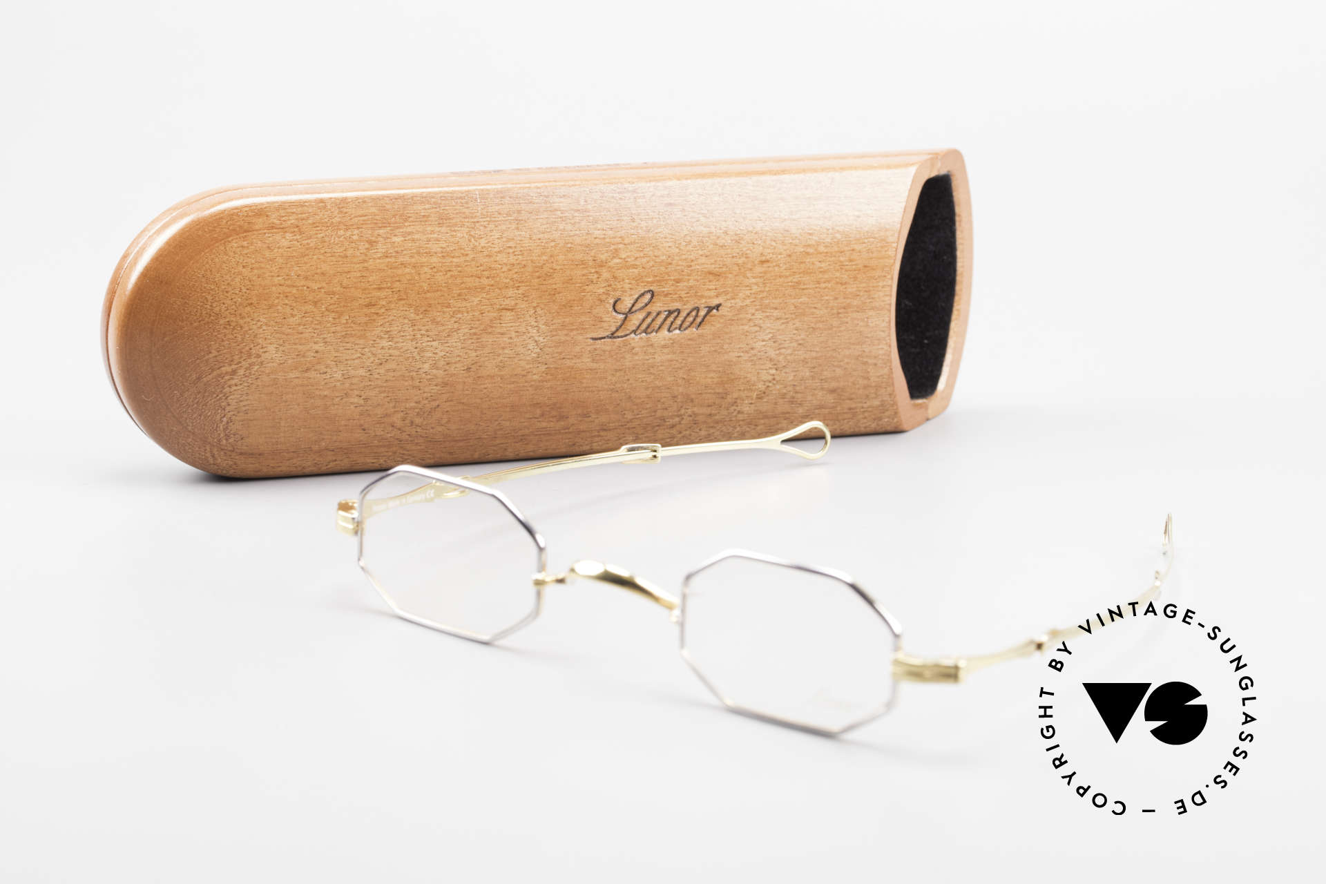 Lunor - Telescopic Ausziehbare Brille Achteckig, Größe: extra small, Passend für Herren und Damen