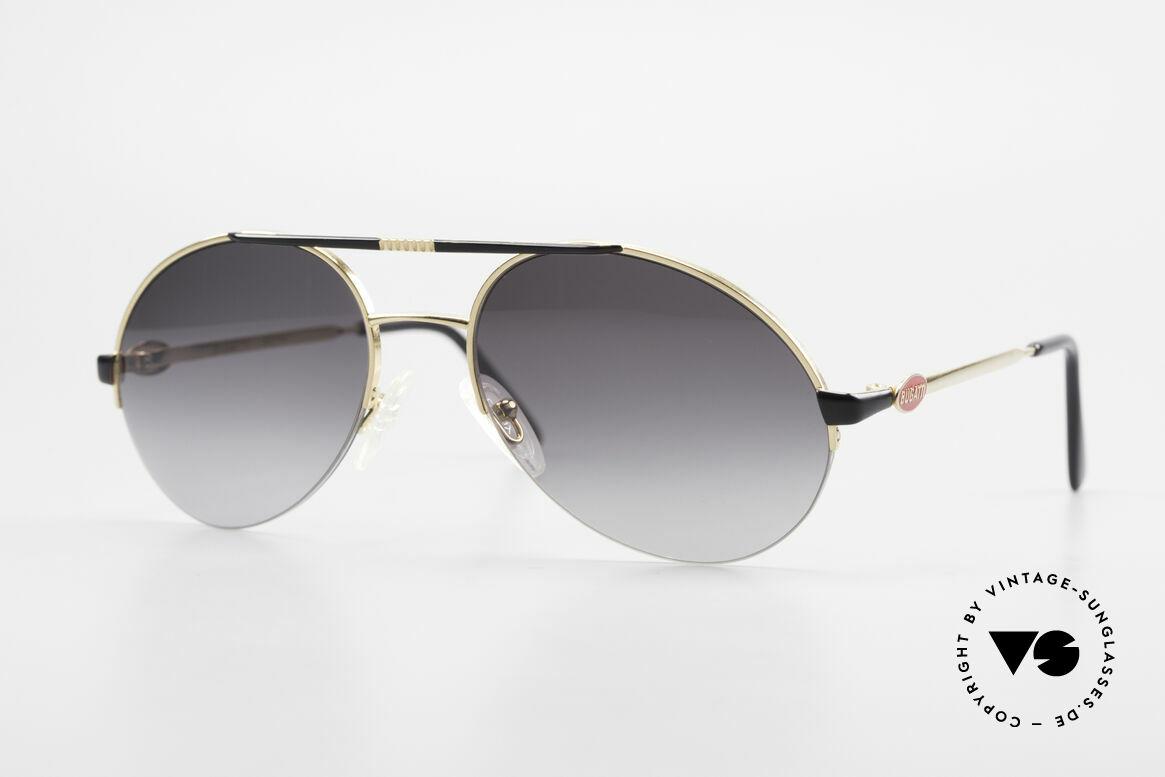Bugatti 65789 Vintage Fassung Halb Randlos, sehr elegante vintage Sonnenbrille von Bugatti, Passend für Herren
