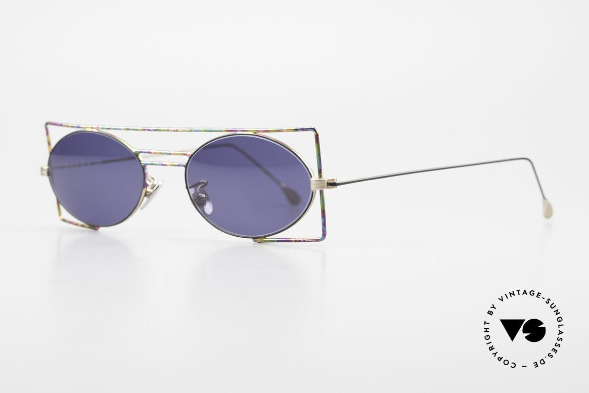 IMAGO Steel 8 Bunte Vintage Sonnenbrille, Rahmen aus geometrischen Formen; bunt lackiert, Passend für Herren und Damen