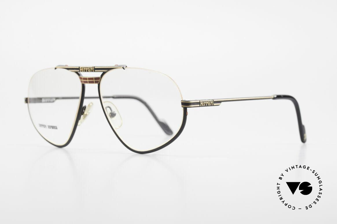 Ferrari F2 Alte Ferrari Brille True Vintage, Rahmen in mattschwarz und gold: in Größe 57/14, 135, Passend für Herren