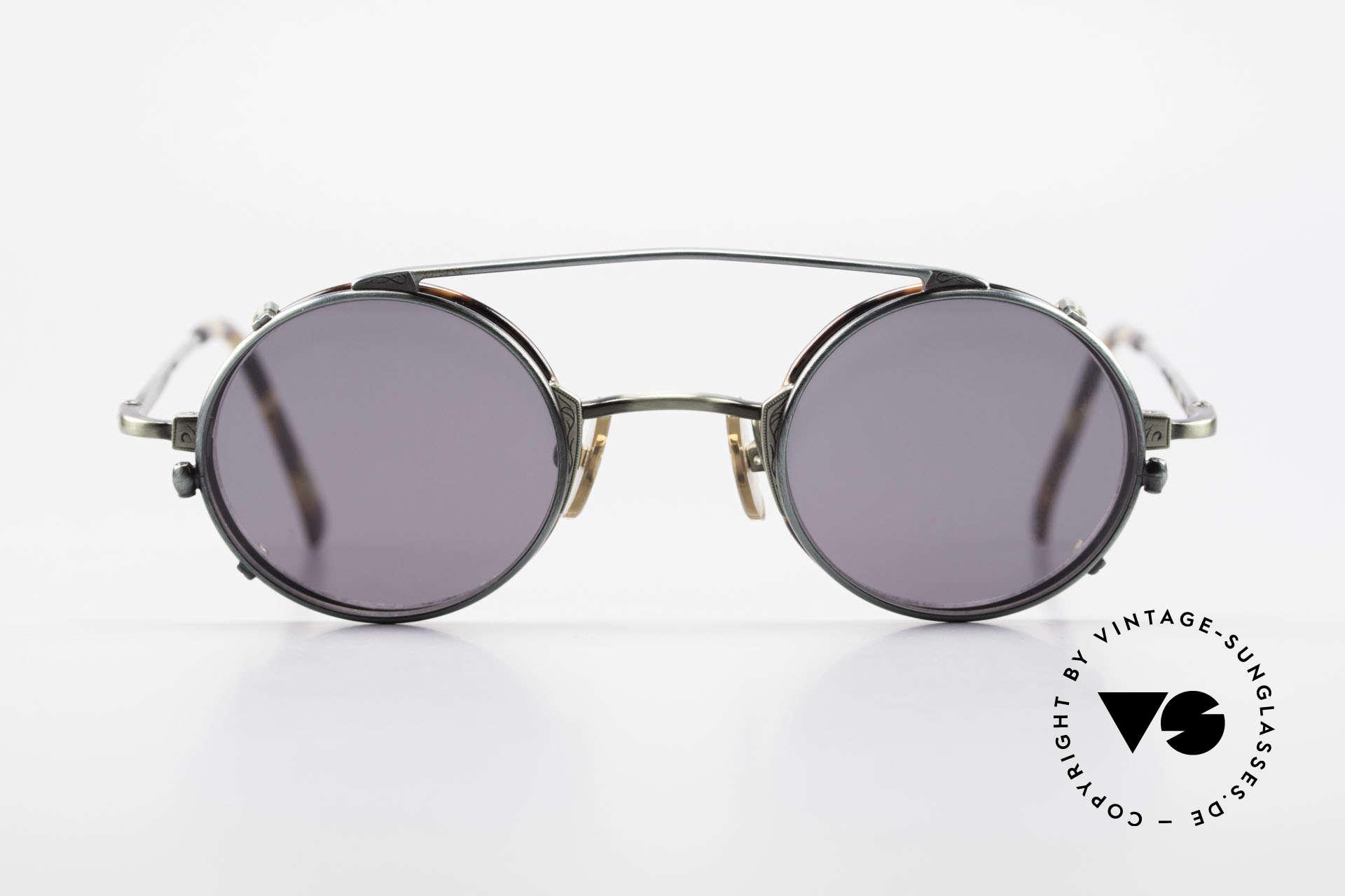 Freudenhaus Tori Kleine Runde Brille Clip On, exzellent gemachter Metall-Rahmen; made in Japan, Passend für Herren und Damen