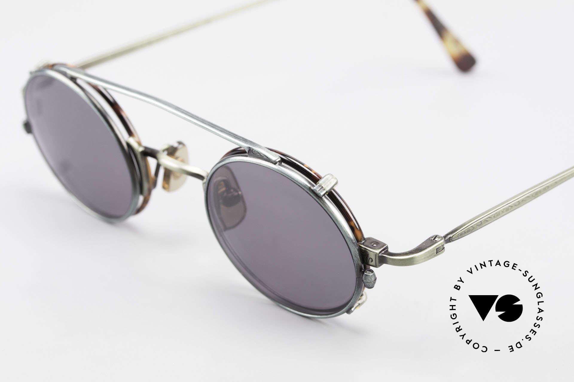 Freudenhaus Tori Kleine Runde Brille Clip On, Fassung in schildpatt/grün mit Sonnen-Clip in grün, Passend für Herren und Damen