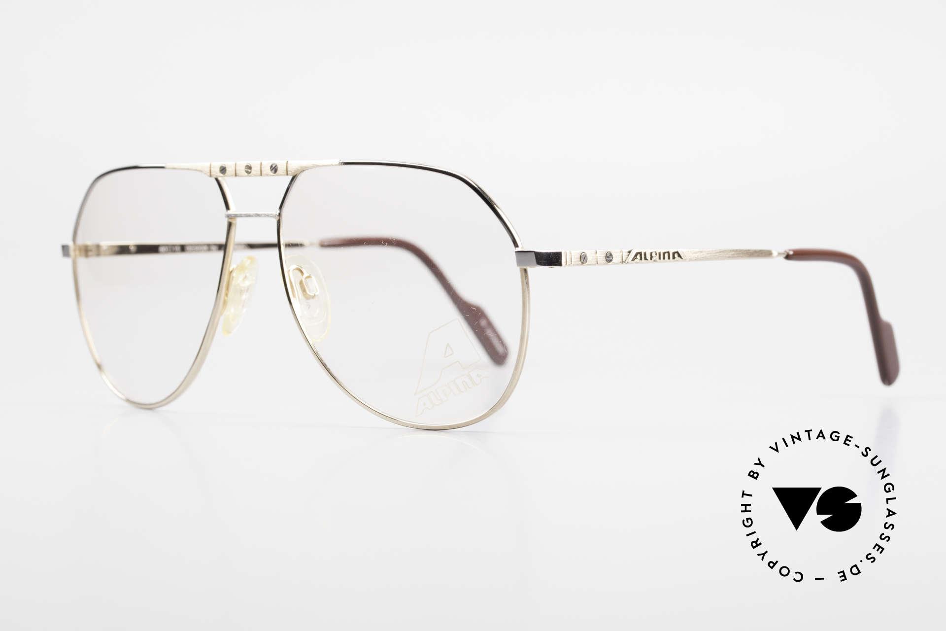 Alpina FM27 Alte Vintage Pilotenbrille 80er, mit den unverwechselbaren Alpina Zierschrauben, Passend für Herren