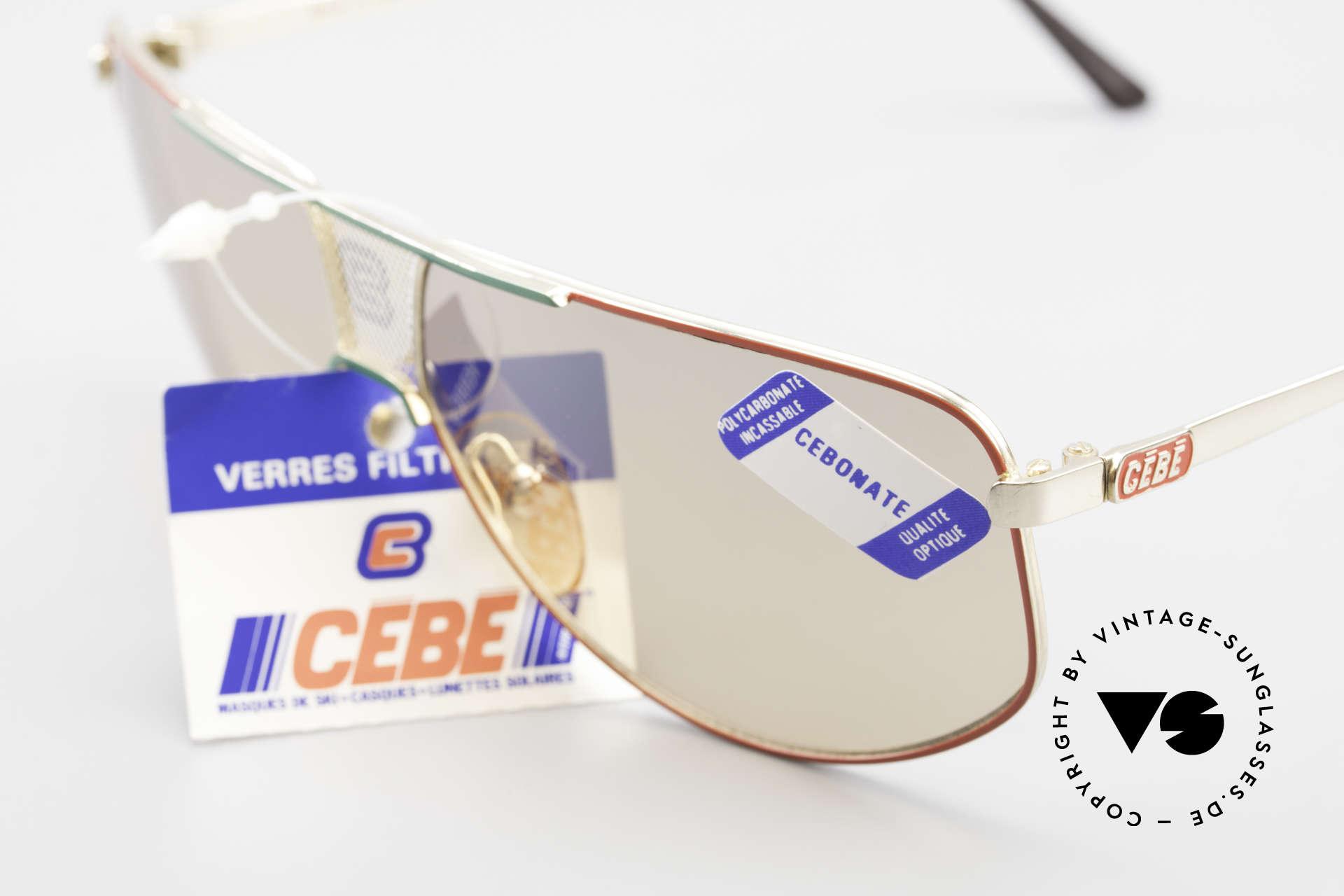 """Cebe 0299 90er Sportsonnenbrille Ski, zudem """"lässiges Lifestyle-Design"""" in rot, grün und gold, Passend für Herren und Damen"""