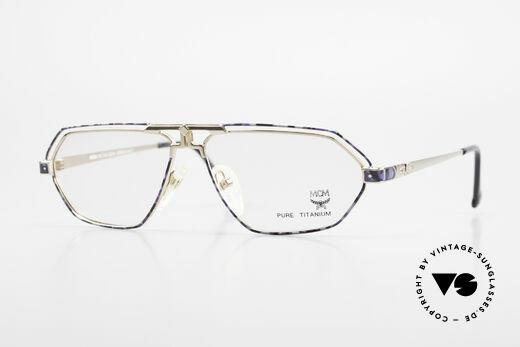 MCM München 13 Titanium Brille Blau Gemustert Details