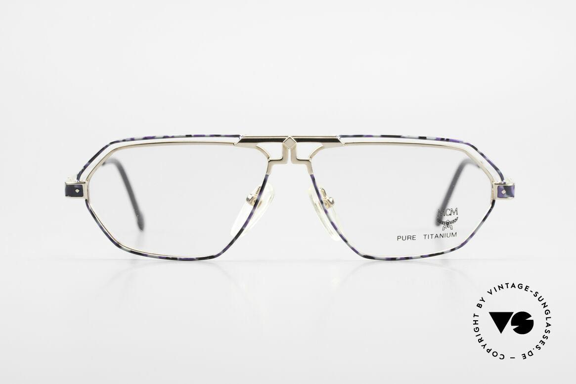 MCM München 13 Titanium Brille Blau Gemustert, alte MCM Designer-Brillenfassung aus den 90ern, Passend für Herren und Damen