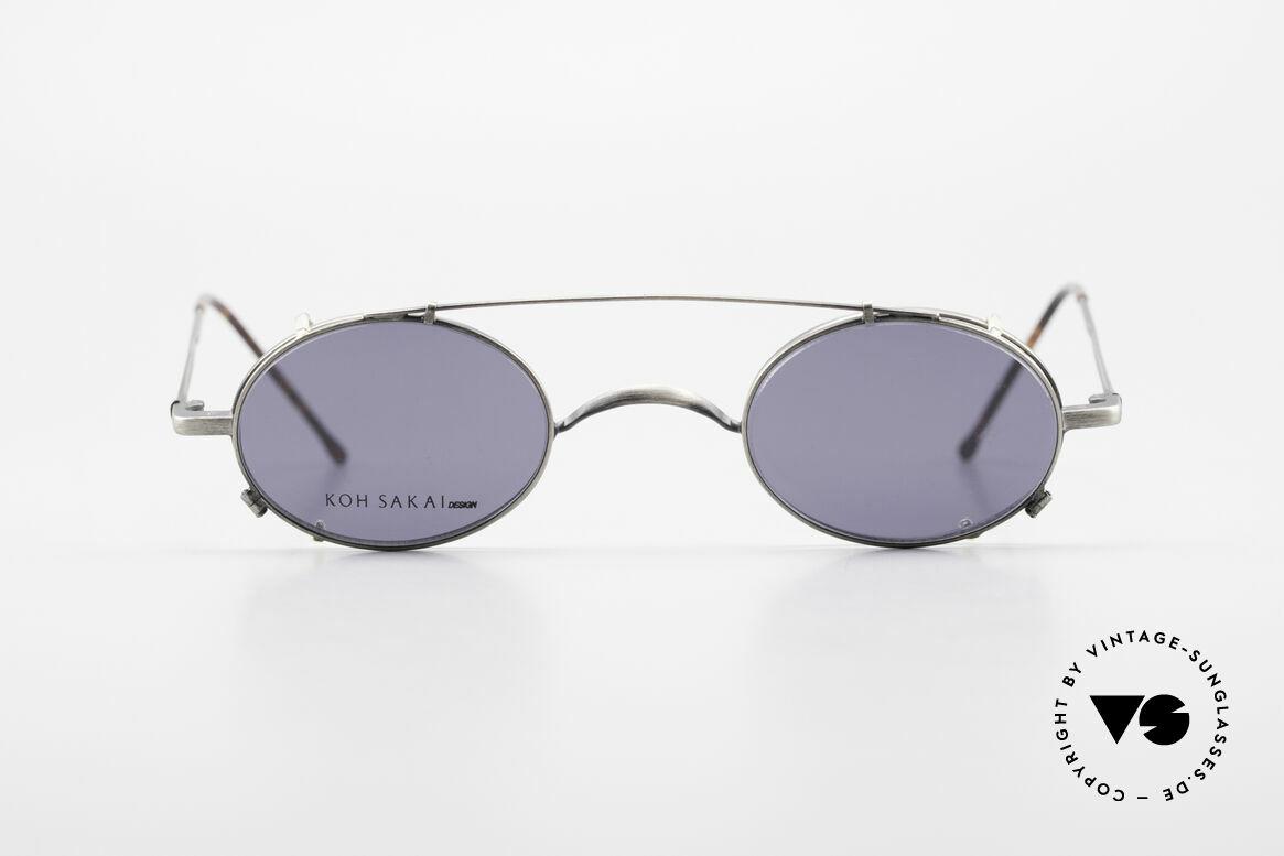 Koh Sakai KS9591 Kleine Ovale Fassung mit Clip, alte vintage Koh Sakai Brille mit Sonnen-Clip von 1997, Passend für Herren und Damen