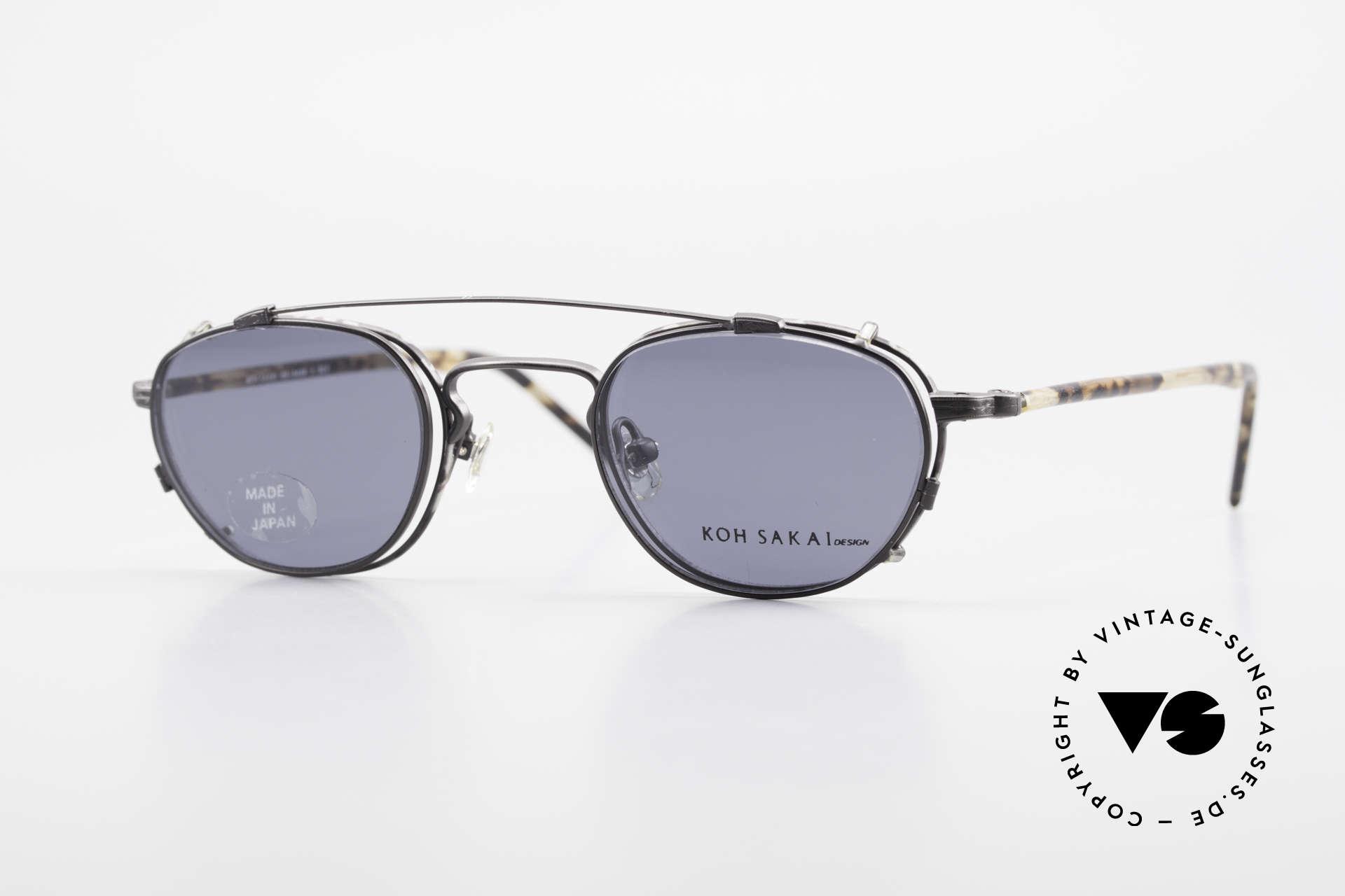 Koh Sakai KS9408 Kleine Brille mit Sonnenclip, alte vintage Koh Sakai Brille mit Sonnen-Clip von 1997, Passend für Herren und Damen