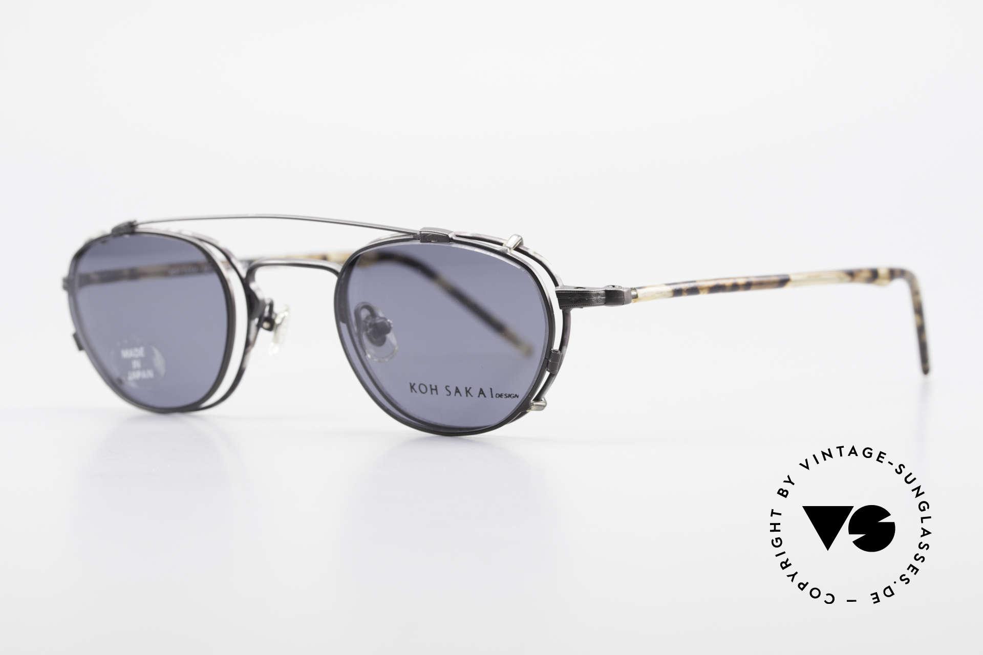 Koh Sakai KS9408 Kleine Brille mit Sonnenclip, in Los Angeles designed & in Sabae (Japan) produziert, Passend für Herren und Damen