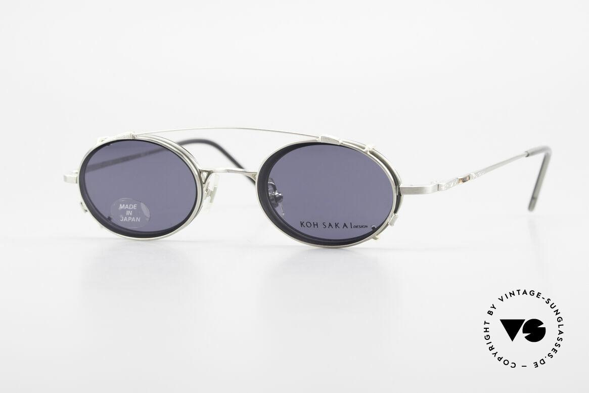 Koh Sakai KS9831 90er Brille Oval Made in Japan, alte vintage Koh Sakai Brille mit Sonnen-Clip von 1997, Passend für Herren