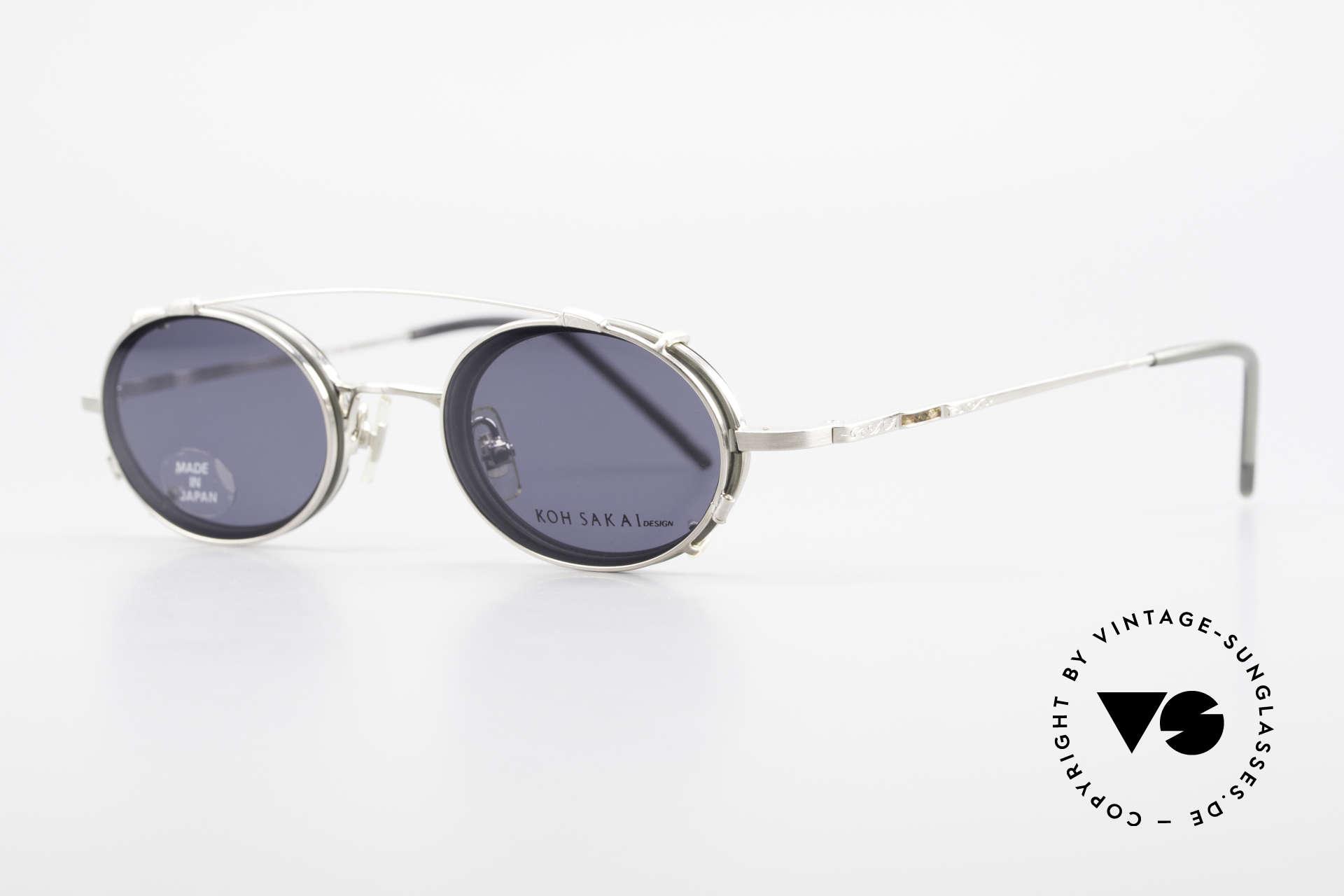Koh Sakai KS9831 90er Brille Oval Made in Japan, in Los Angeles designed & in Sabae (Japan) produziert, Passend für Herren