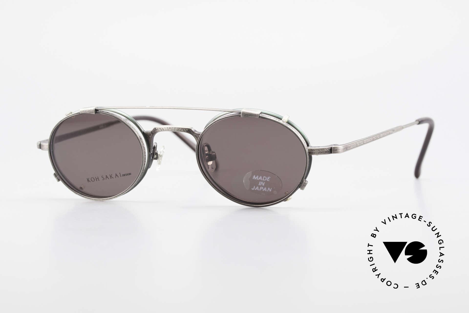 Koh Sakai KS9301 90er Oliver Peoples Eyevan Stil, alte vintage Koh Sakai Brille mit Sonnen-Clip von 1997, Passend für Herren