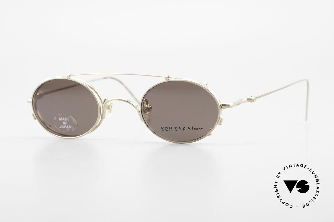 Koh Sakai KS9541 Ovale Brille Made in Japan 90er, alte vintage Koh Sakai Brille mit Sonnen-Clip von 1997, Passend für Herren und Damen