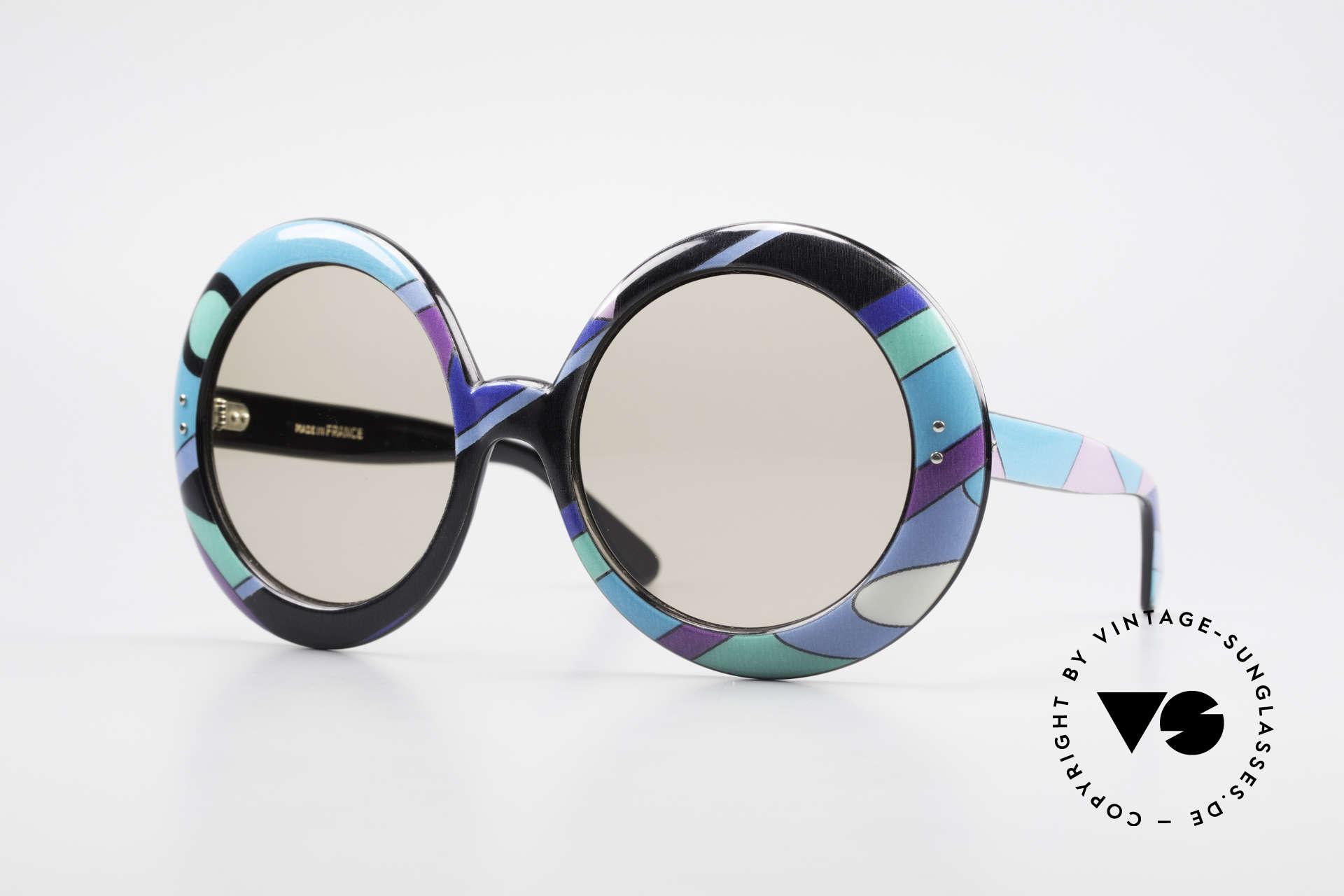 Emilio Pucci XXL Übergroße 60er Sonnenbrille, farbenfrohe 'luftige' vintage Pucci Designersonnenbrille, Passend für Damen