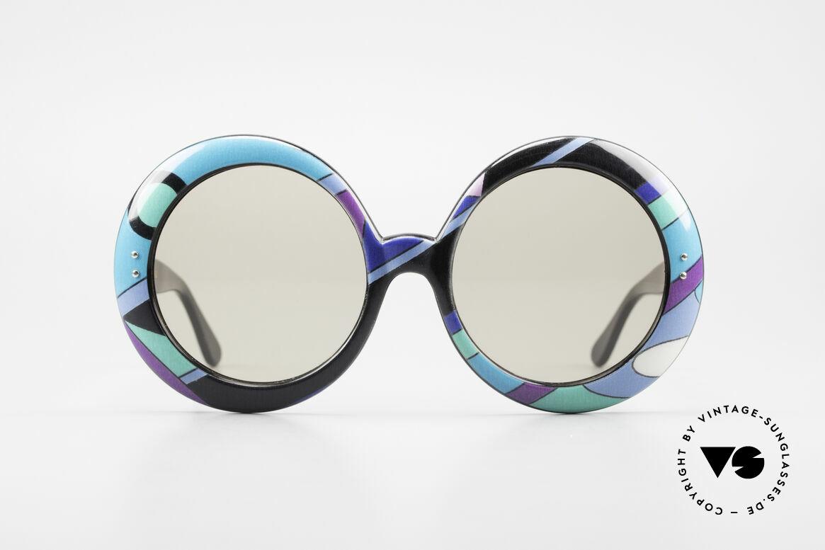 Emilio Pucci XXL Übergroße 60er Sonnenbrille, weltberühmtes filigranes Farbenmuster; teils futuristisch, Passend für Damen