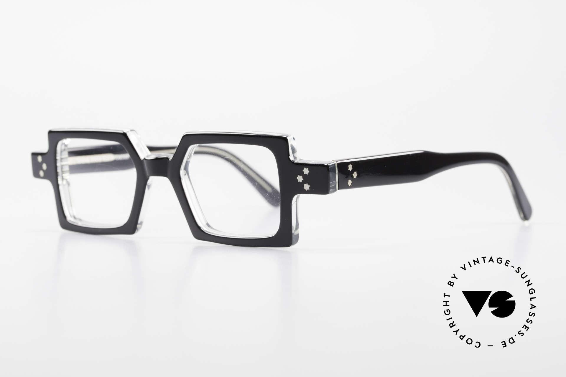 Anne Et Valentin Chico Alte 80er Brille Eckig Markant, kreieren und leben seit 1980 für ihre eigene Kollektion, Passend für Herren und Damen