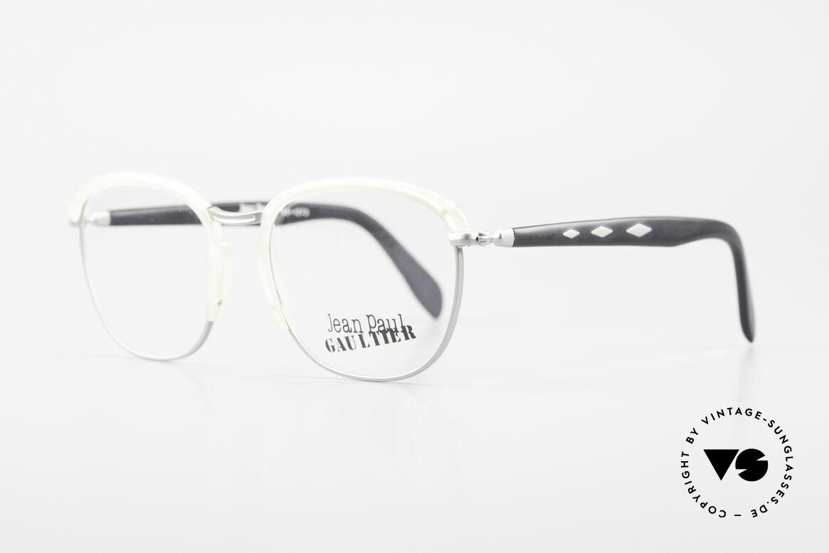 Jean Paul Gaultier 55-1273 Alte 90er Vintage Brille JPG, sehenswerte Materialkombination und Verarbeitung, Passend für Herren und Damen