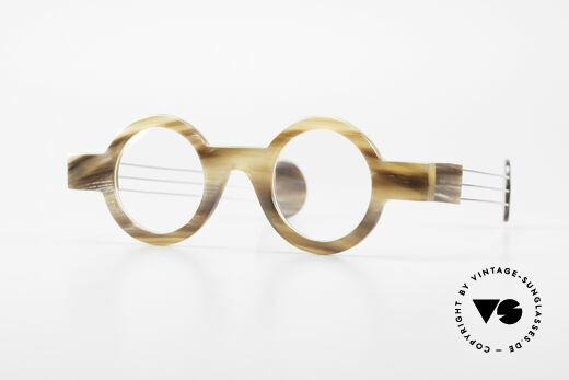 P. Klenk Bold 022 Runde Hornbrille Einzelstück Details