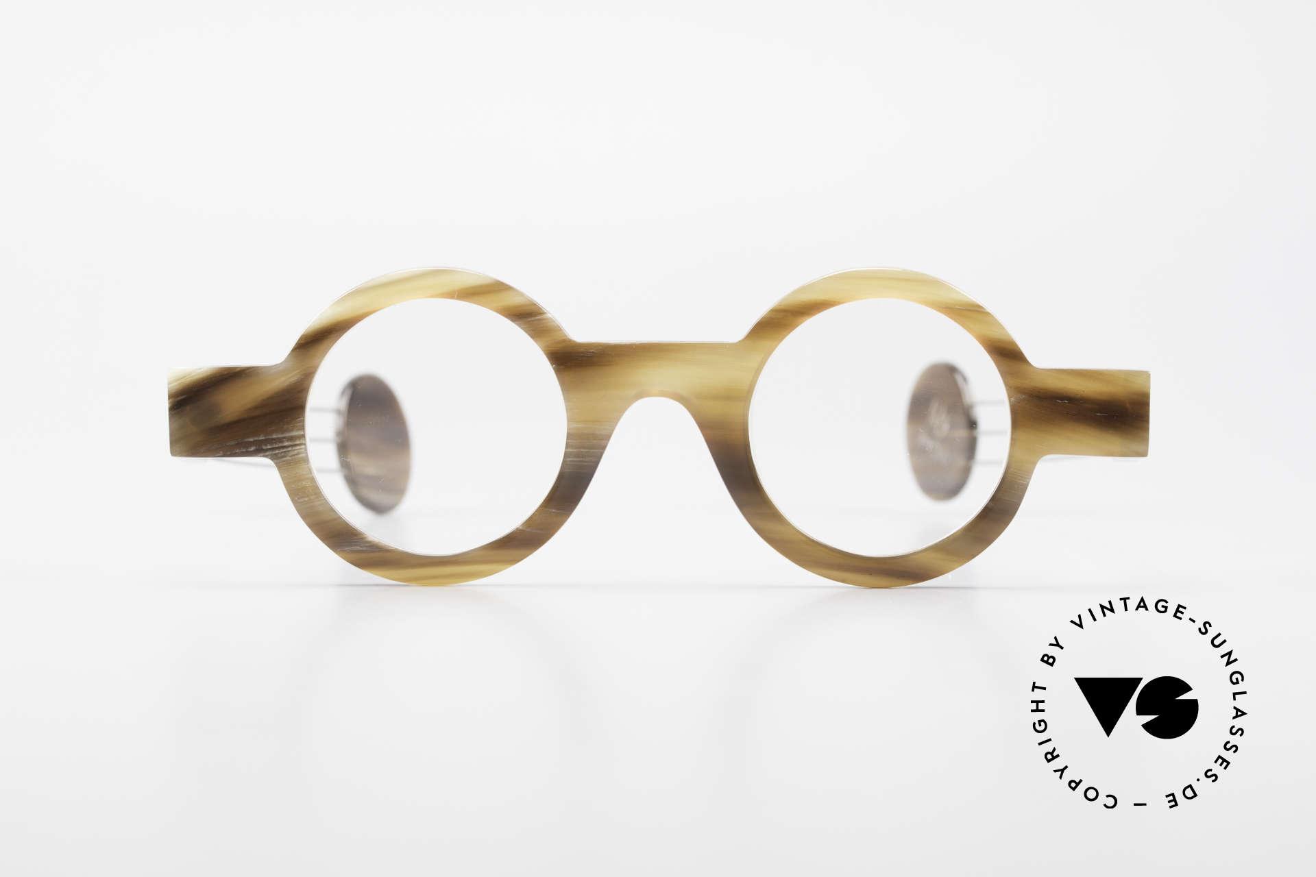 P. Klenk Bold 022 Runde Hornbrille Einzelstück, absolute Rarität aus Büffelhorn in Handarbeit gefertigt, Passend für Herren und Damen