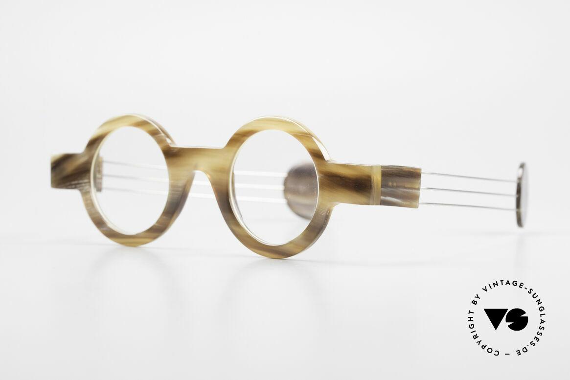P. Klenk Bold 022 Runde Hornbrille Einzelstück, einzigartiger Rahmen, jedes Horn-Modell ist individuell, Passend für Herren und Damen