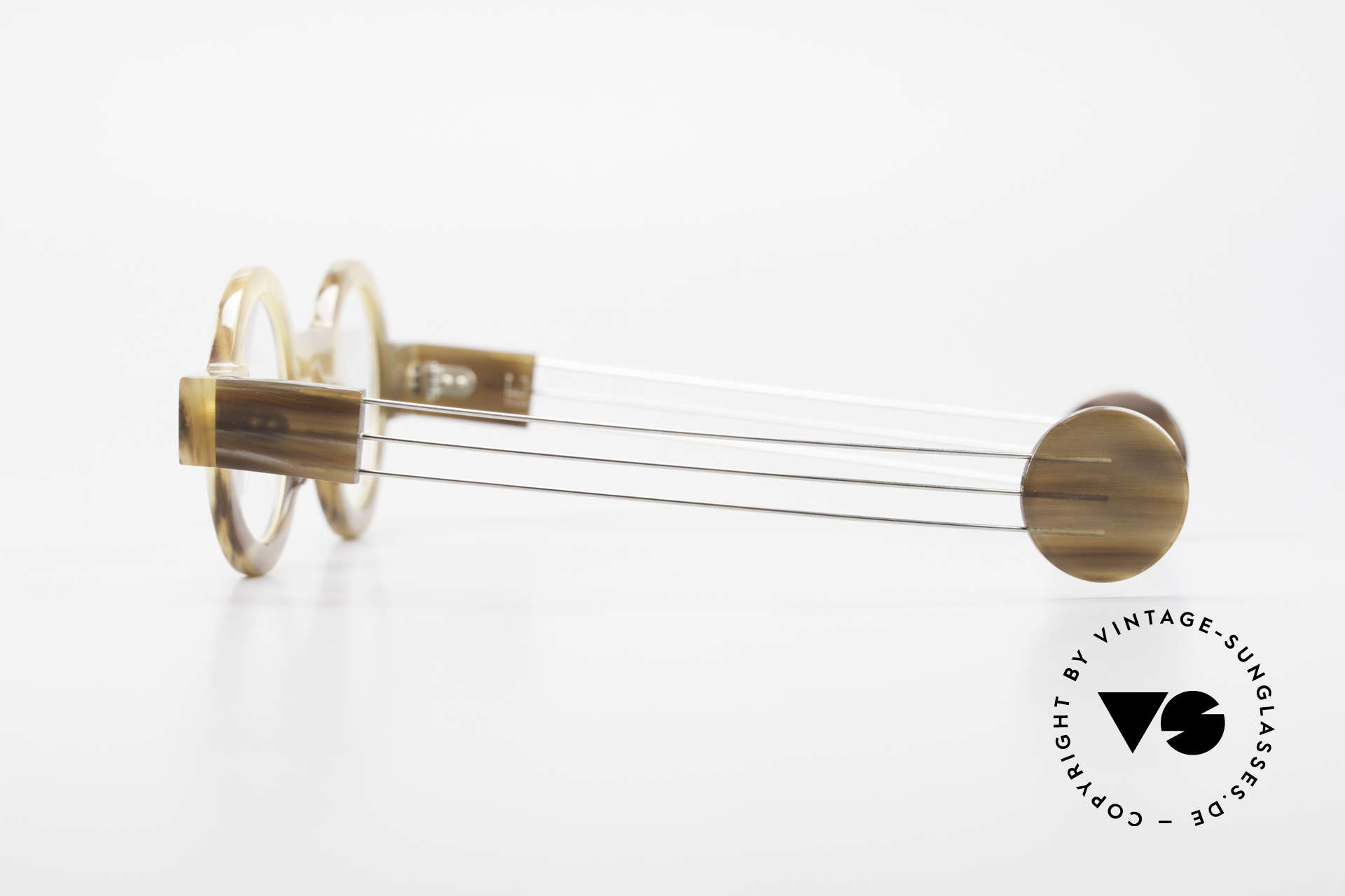 P. Klenk Bold 022 Runde Hornbrille Einzelstück, mit eindrehbaren Metall-Bügeln (originelles Gimmick), Passend für Herren und Damen