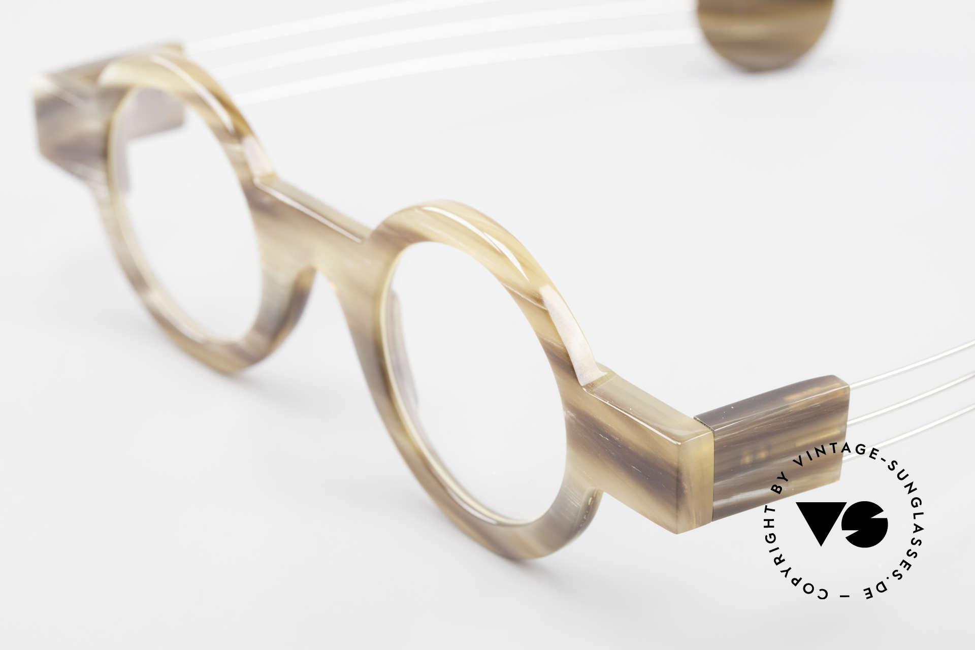 P. Klenk Bold 022 Runde Hornbrille Einzelstück, ungetragenes vintage EINZELSTÜCK aus dem Jahre 1991, Passend für Herren und Damen