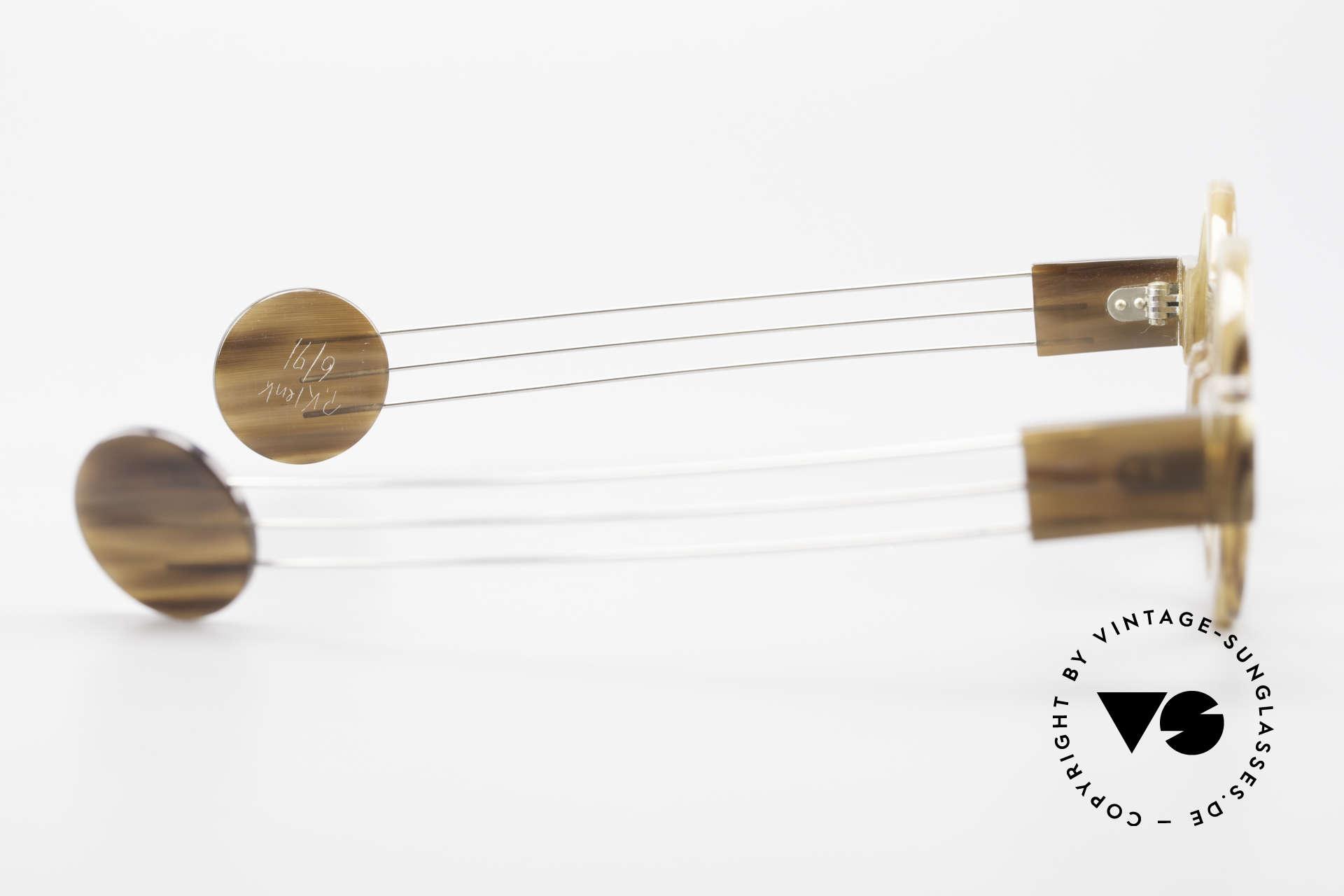 P. Klenk Bold 022 Runde Hornbrille Einzelstück, Größe: medium, Passend für Herren und Damen