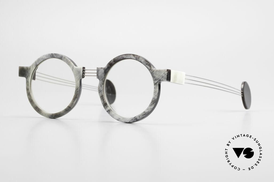 P. Klenk String 027 Echthornbrille Panto Vintage, markante, runde Echthorn-Brillenfassung von P. Klenk, Passend für Herren und Damen
