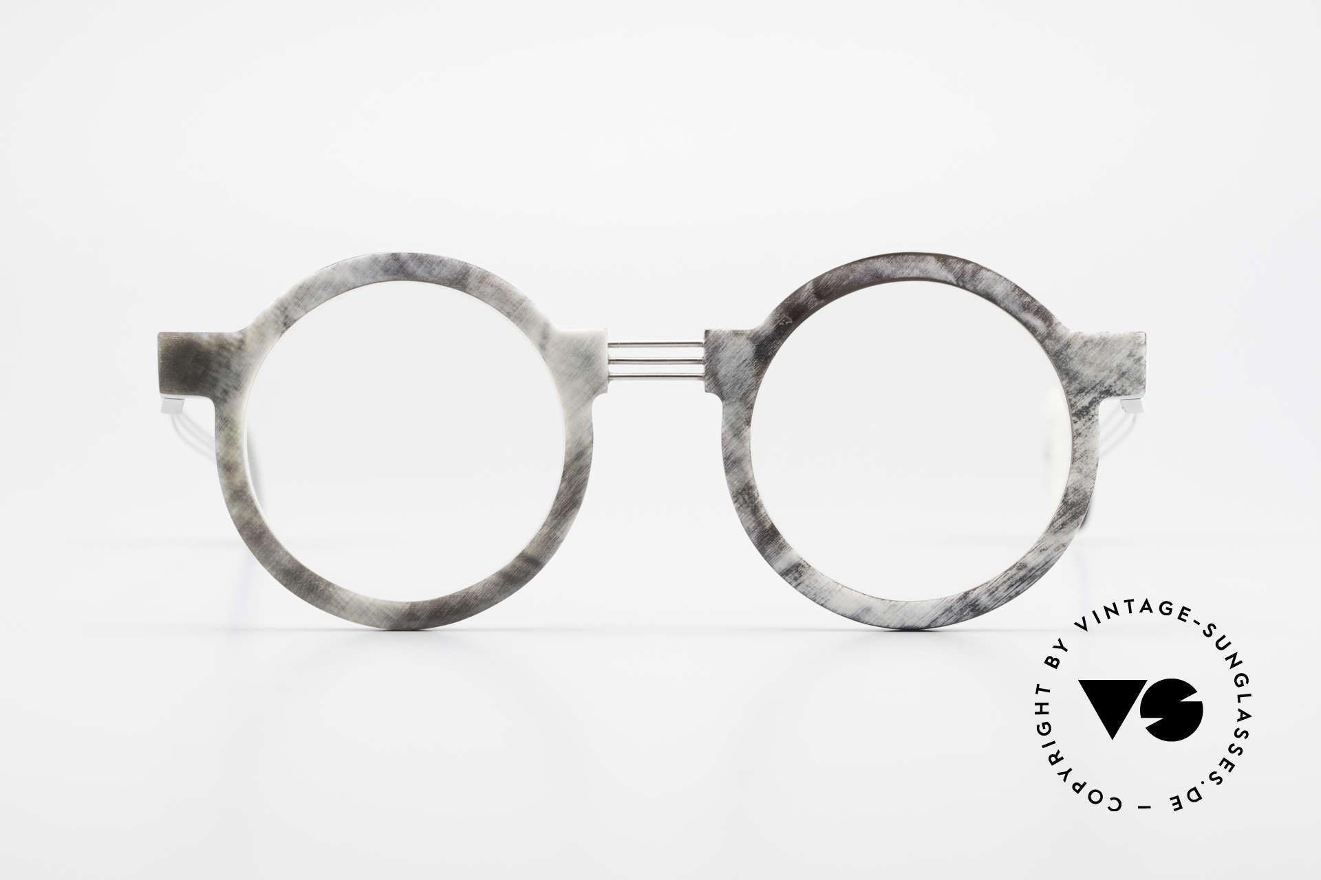 P. Klenk String 027 Echthornbrille Panto Vintage, absolute Rarität aus Büffelhorn in Handarbeit gefertigt, Passend für Herren und Damen