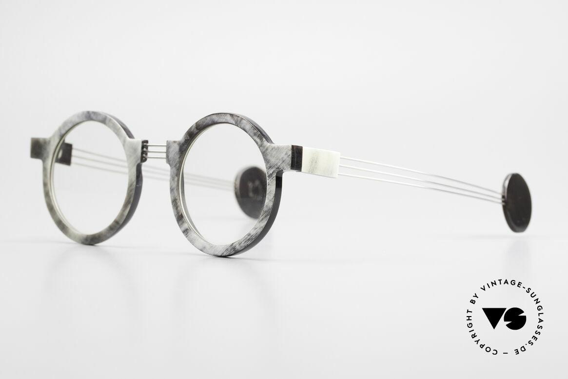 P. Klenk String 027 Echthornbrille Panto Vintage, einzigartiger Rahmen, jedes Horn-Modell ist individuell, Passend für Herren und Damen