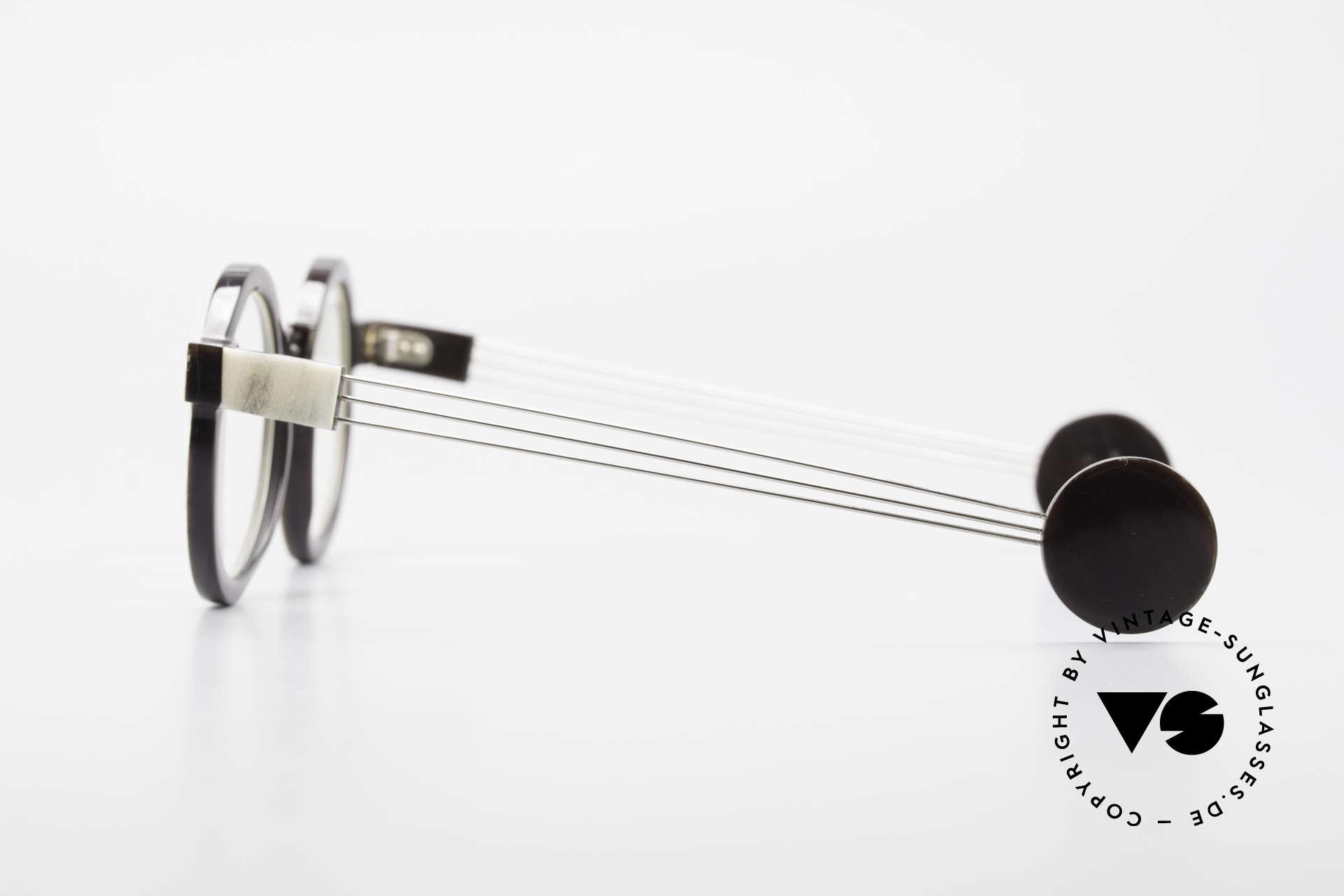 P. Klenk String 027 Echthornbrille Panto Vintage, ungetragenes vintage EINZELSTÜCK aus dem Jahre 1992, Passend für Herren und Damen
