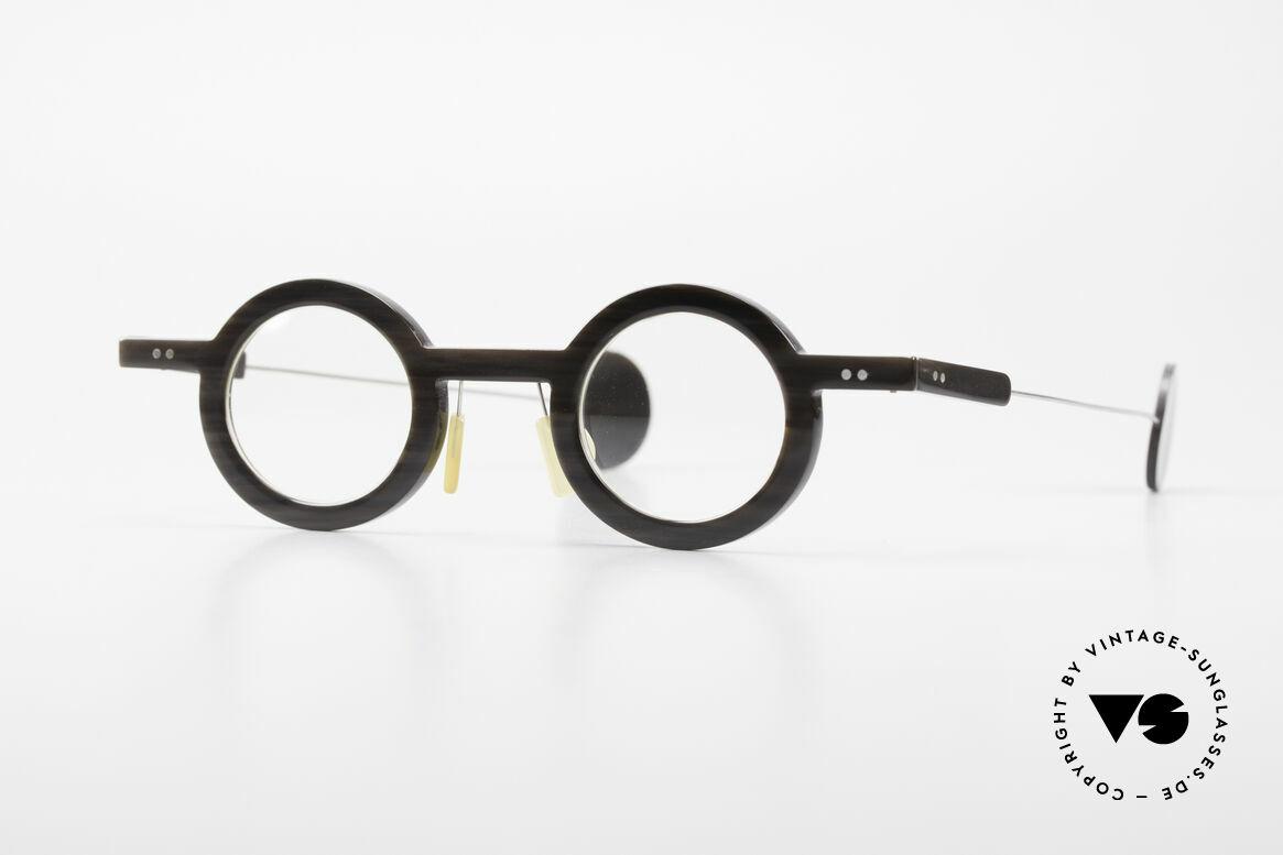 P. Klenk Rugby 014 Echthornbrille Rund Vintage, markante, runde Echthorn-Brillenfassung von P. Klenk, Passend für Herren