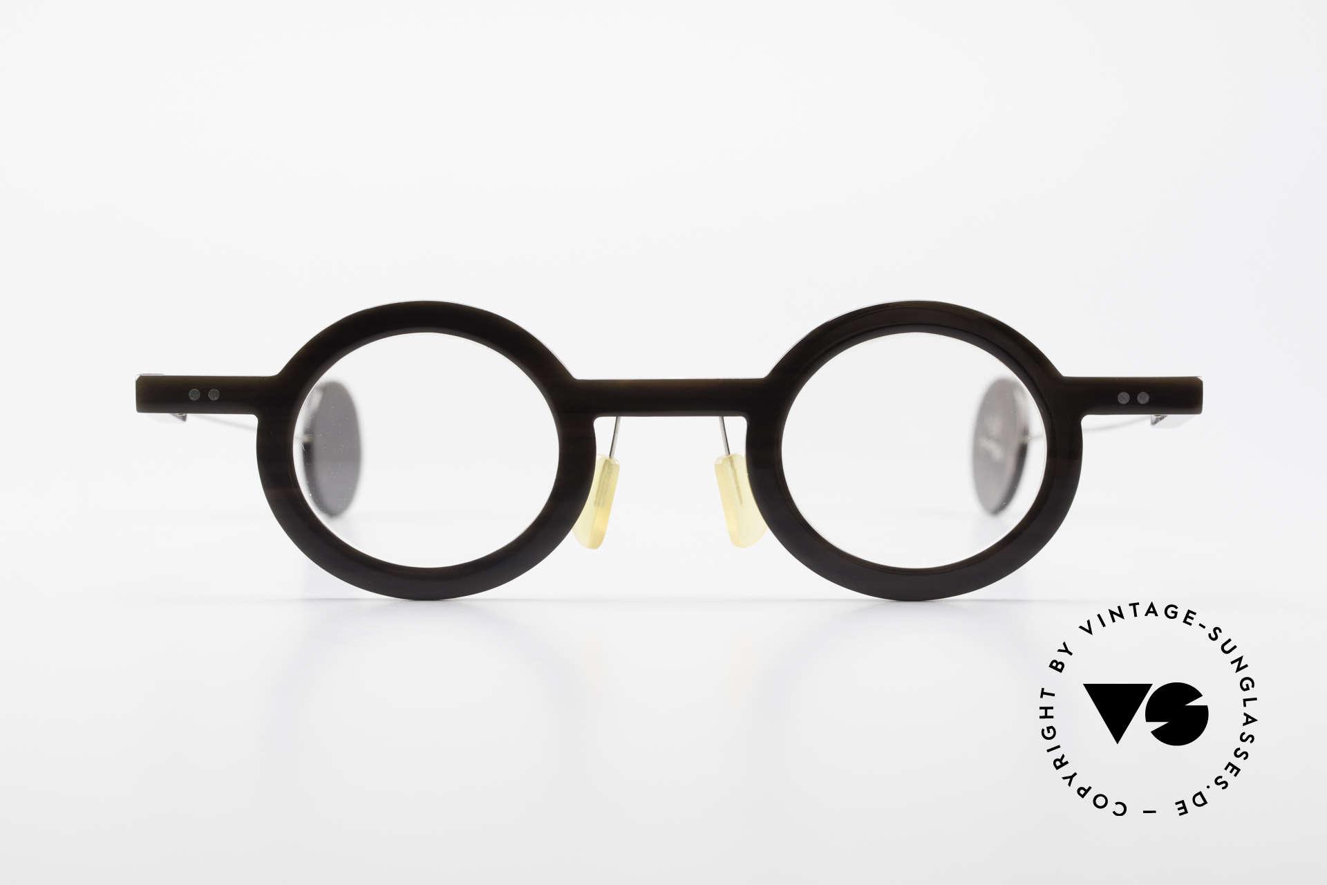 P. Klenk Rugby 014 Echthornbrille Rund Vintage, absolute Rarität aus Büffelhorn in Handarbeit gefertigt, Passend für Herren