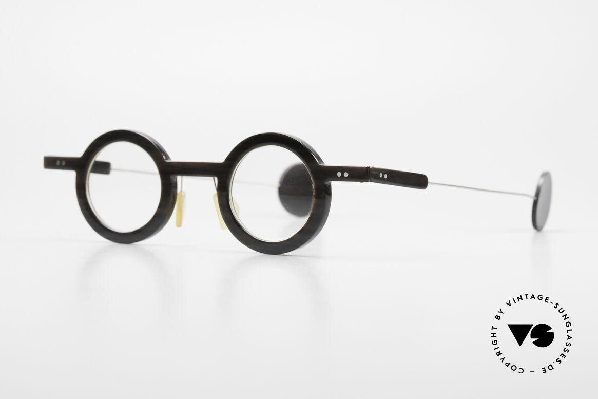 P. Klenk Rugby 014 Echthornbrille Rund Vintage, einzigartiger Rahmen, jedes Horn-Modell ist individuell, Passend für Herren
