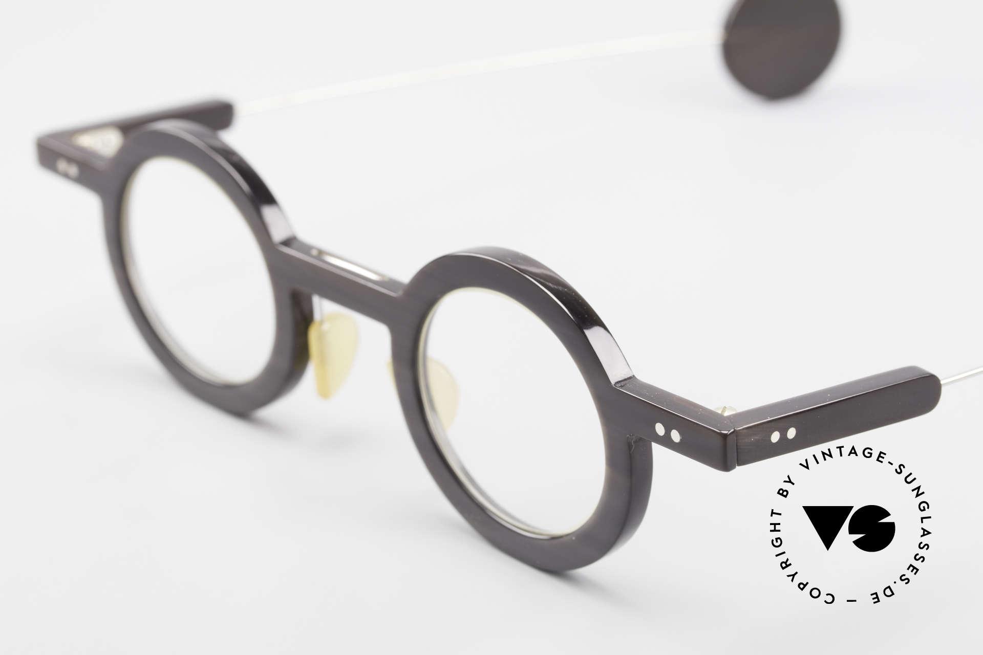 P. Klenk Rugby 014 Echthornbrille Rund Vintage, ungetragenes vintage EINZELSTÜCK aus dem Jahre 1994, Passend für Herren