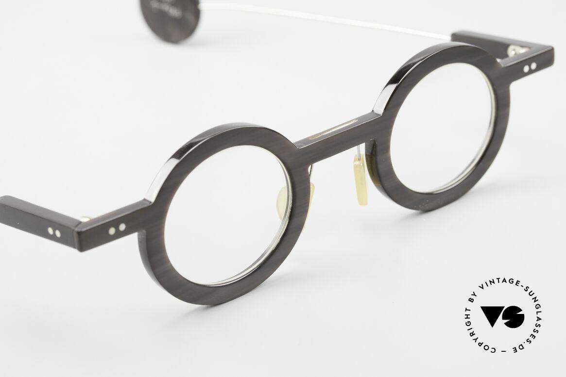 P. Klenk Rugby 014 Echthornbrille Rund Vintage, echtes UNIKAT: heutzutage gar nicht mehr zu bekommen, Passend für Herren