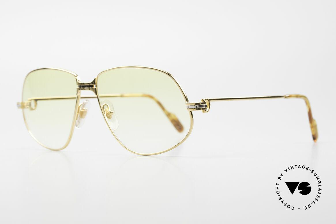 Cartier Panthere G.M. - XL Gelbe Gläser Mit Bvlgari Etui, wurde 1988 veröffentlicht und dann bis 1997 produziert, Passend für Herren und Damen