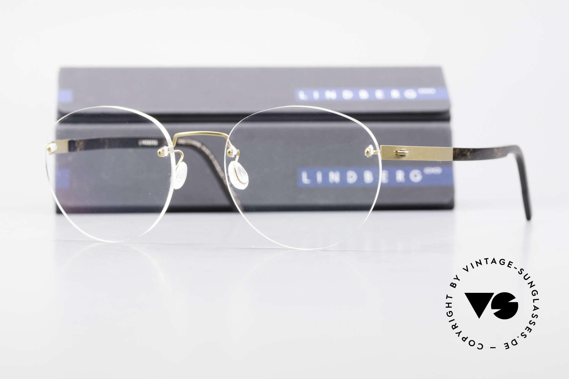 Lindberg 2110 Spirit Titan Runde Randlose Titanium Brille, sehr flexibel & elastisch (Glasform ist ggf. veränderbar), Passend für Herren und Damen