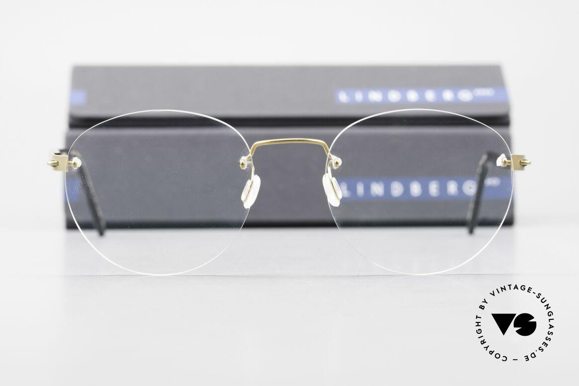 Lindberg 2110 Spirit Titan Runde Randlose Titanium Brille, ungetragenes Designerstück + orig. Lindberg Magnet-Etui, Passend für Herren und Damen