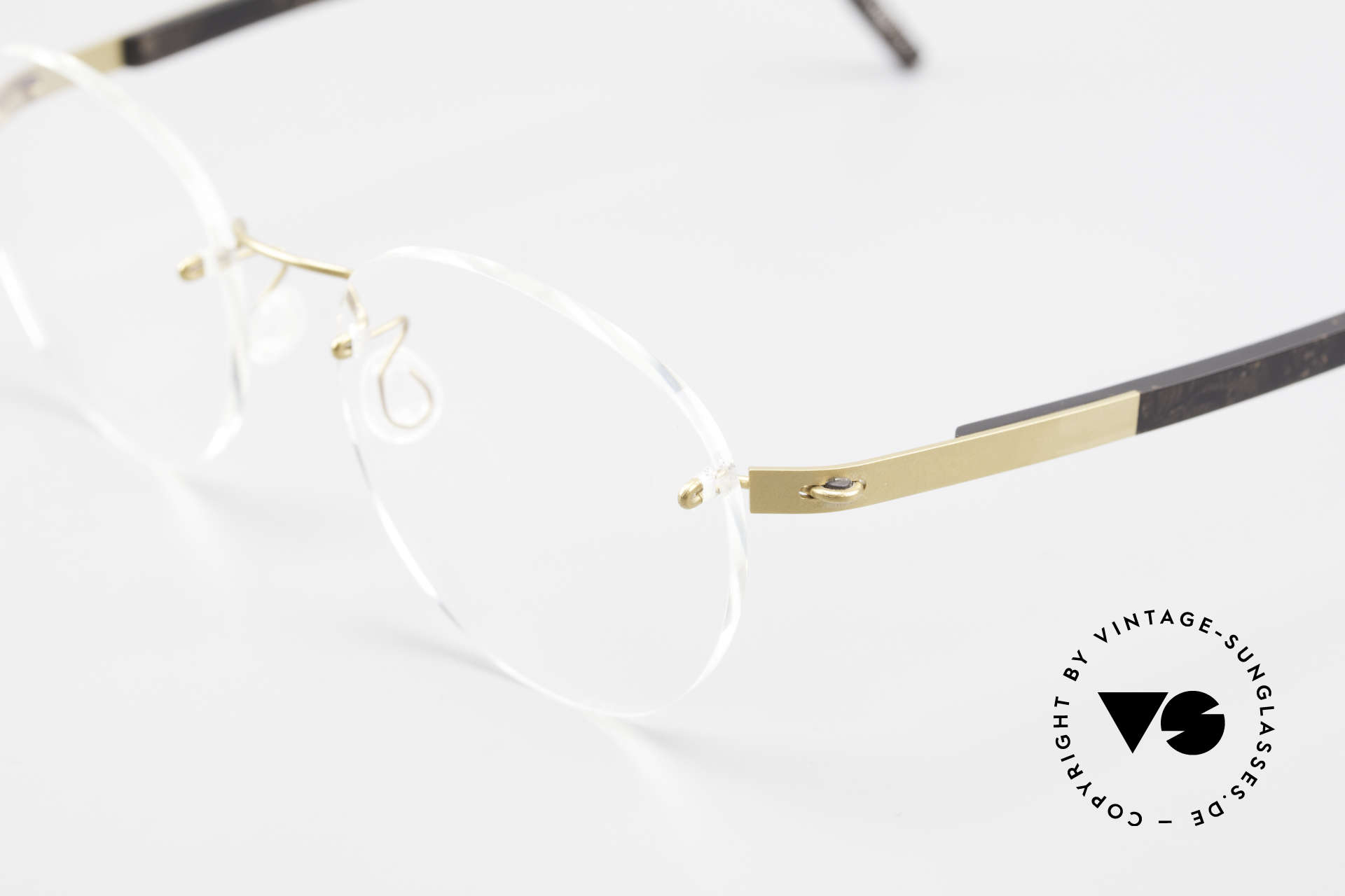 Lindberg 2110 Spirit Titan Runde Randlose Titanium Brille, minimalistisch = ohne Schrauben, Nieten oder Lötungen!, Passend für Herren und Damen