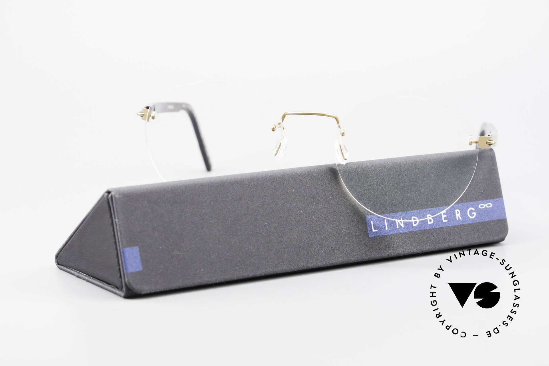 Lindberg 2110 Spirit Titan Runde Randlose Titanium Brille, Größe: small, Passend für Herren und Damen