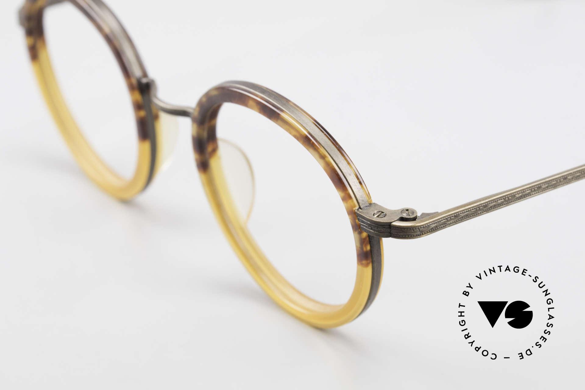 Beau Monde Rhodes Runde Alte Vintage Brille 90er, Fertigung mit den gleichen Werkzeugen wie bei Matsuda, Passend für Herren und Damen