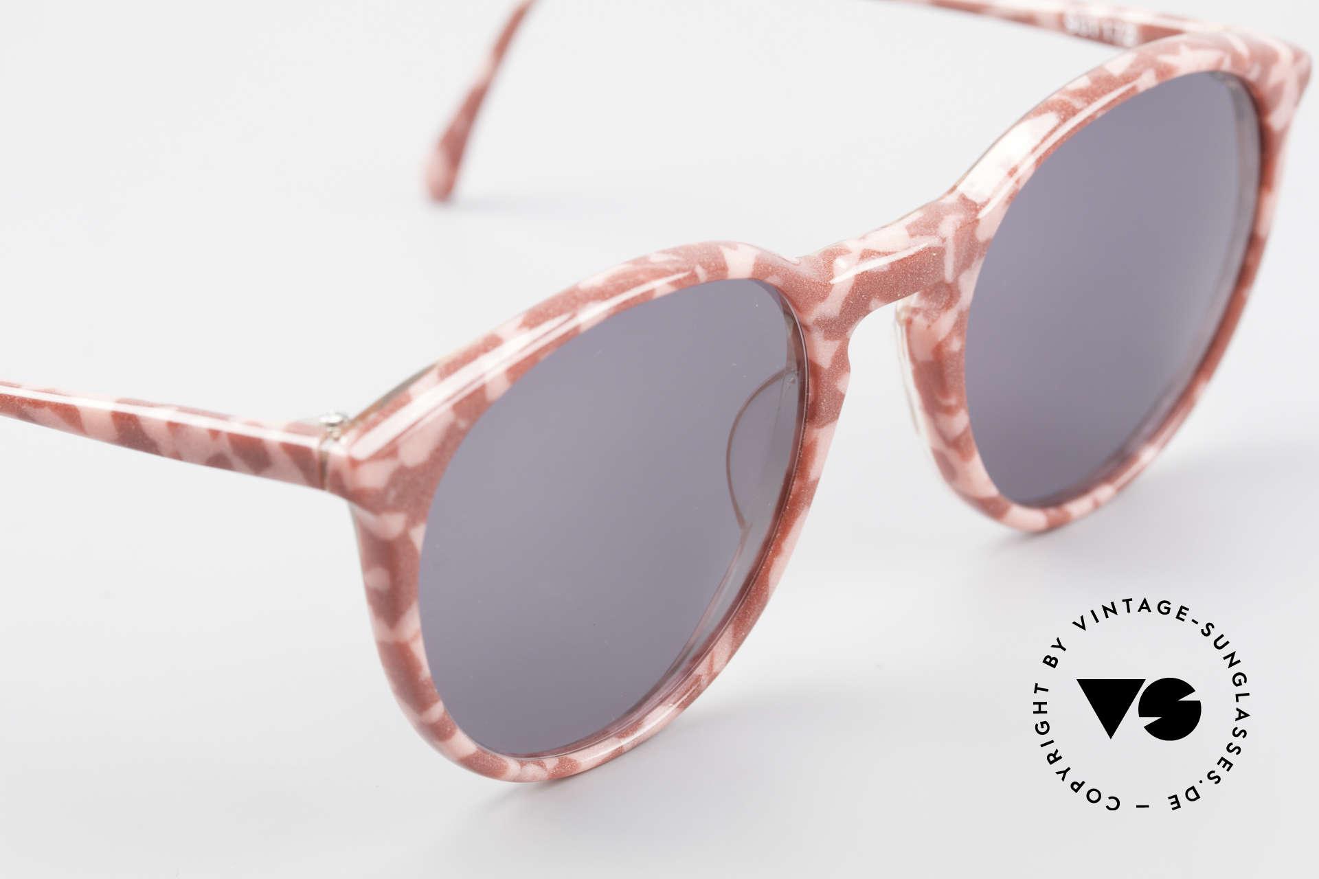 Alain Mikli 901 / 172 Sonnenbrille Rot Pink Marmor, ungetragen (wie alle unsere 1980er vintage Brillen), Passend für Damen